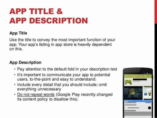 Optimizing your app title and description can help optimize your app listings and improve your SEO and ASO