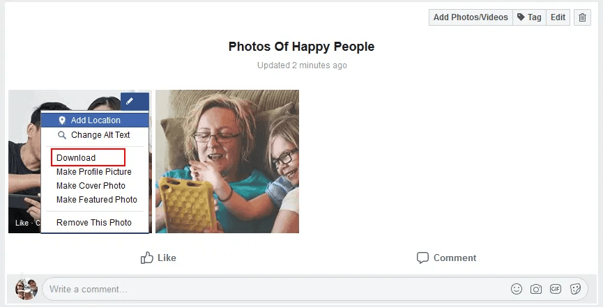 Facebook group admins can download their photos individually