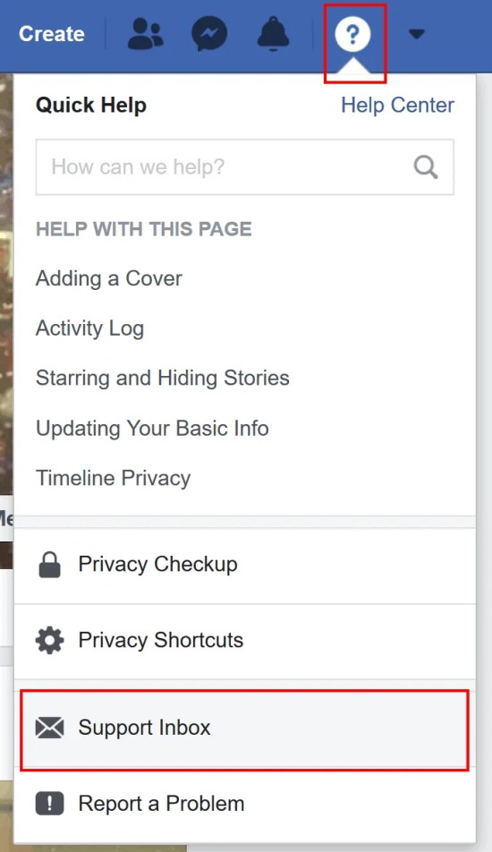 The Help menu gives you access to your Facebook support inbox