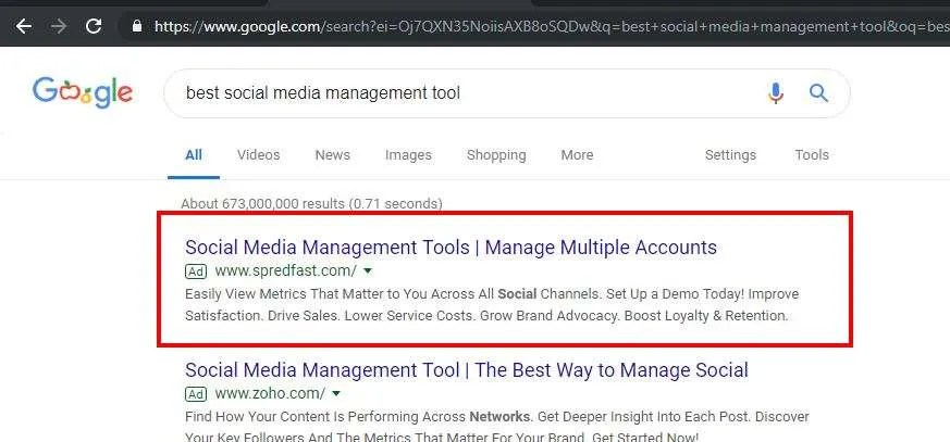 Because Google places ads at the top of the pages, you can buy your way into the search listings with an AdWords campaign