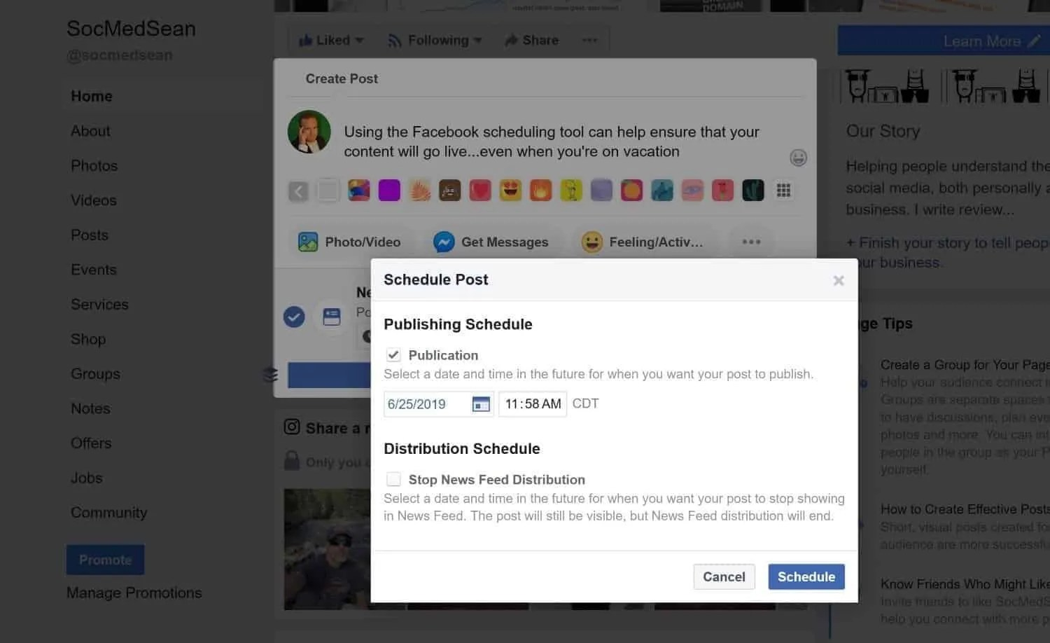 The Facebook scheduler can help you publish content, even while you are on vacation