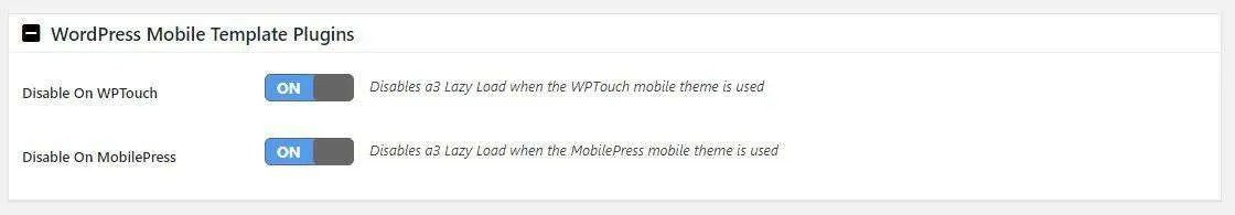 A3 Lazy Load WordPress Mobile Template Plugins tab