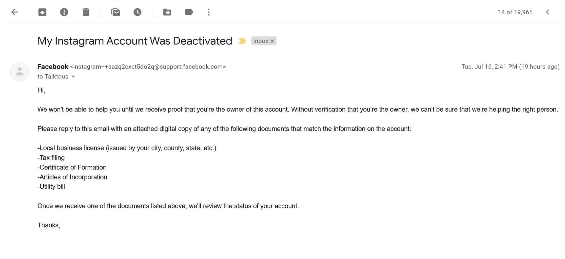 Instagram AI sent me an email requesting another business document in order to lift my account ban