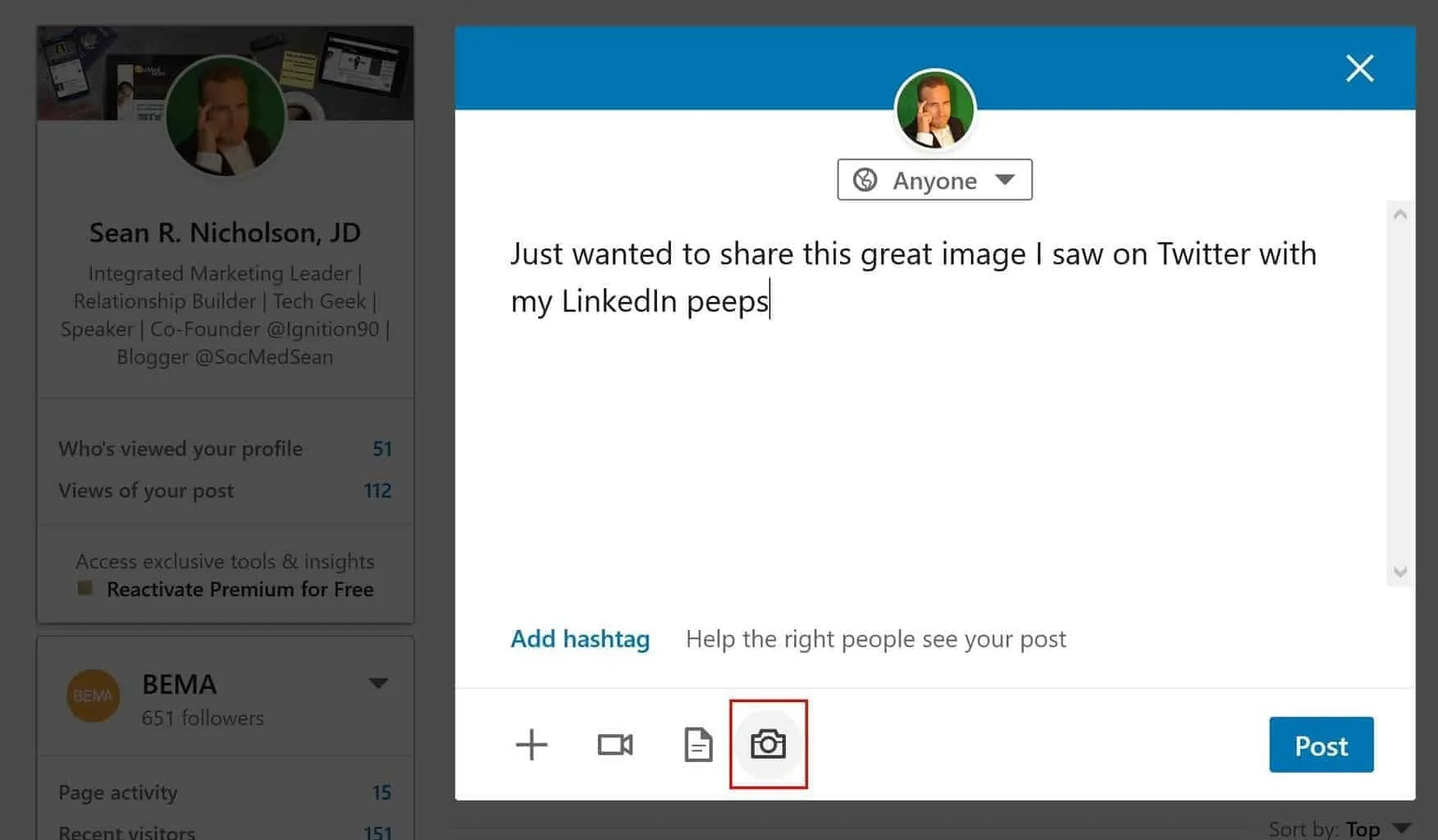Click on the camera icon to share the image you saved from Twitter to your LinkedIn post