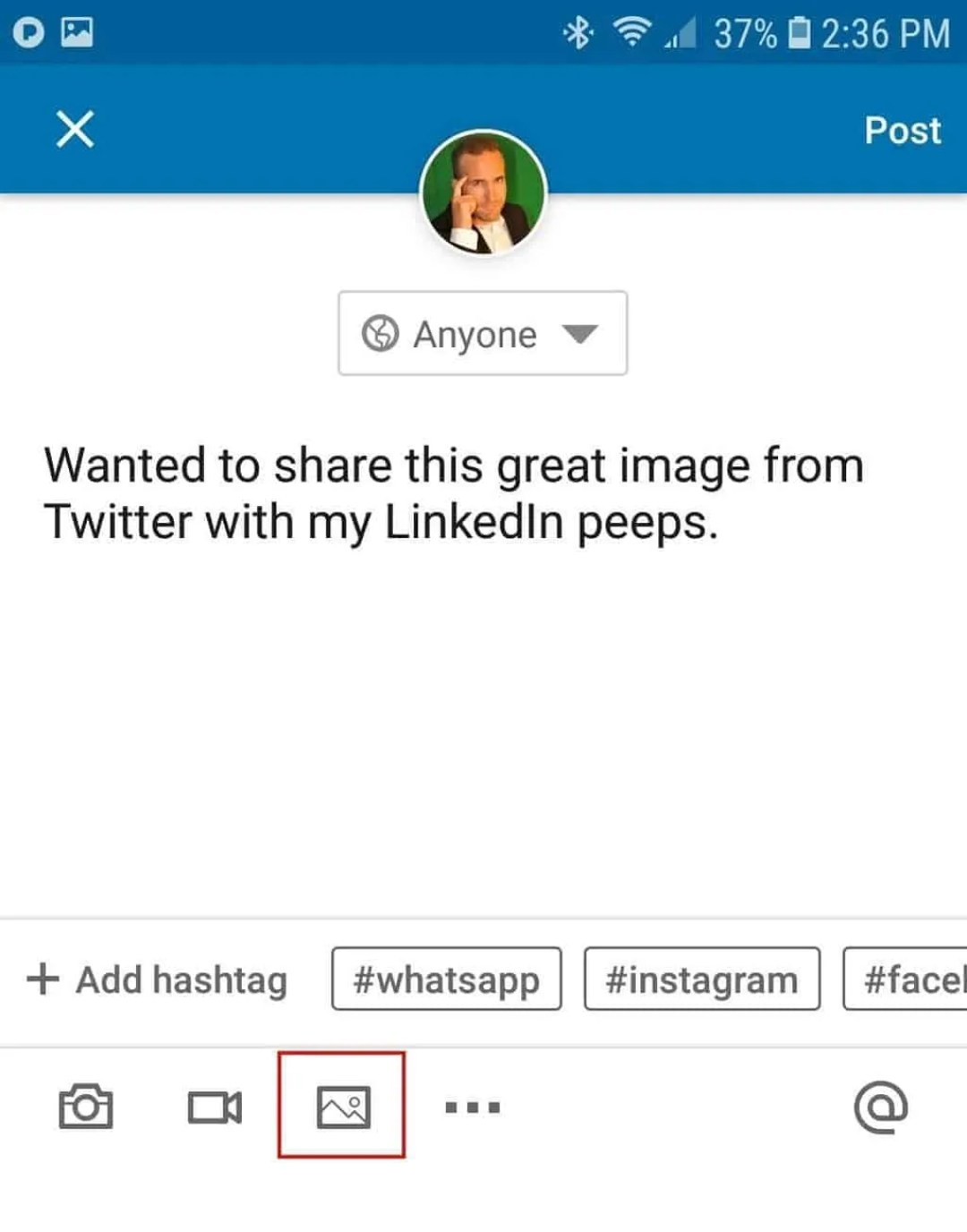 Type your LinkedIn status update and then attach the image that you saved
