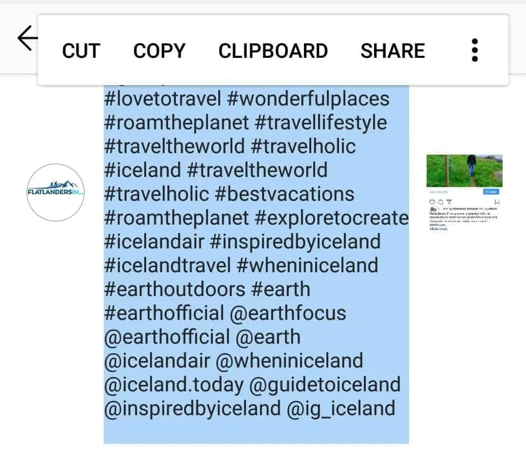 Be sure to select and copy your entire Instagram description before you post it. This way, if something goes wrong you don't have to do all the work again.