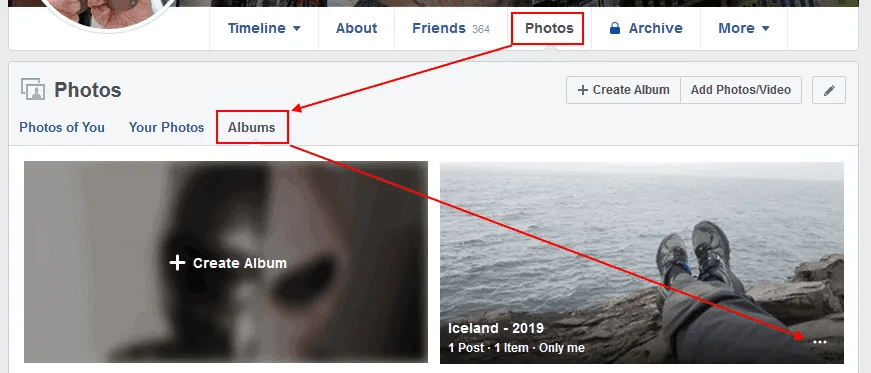 To rename a photo album or edit the description, first locate the album you want to edit