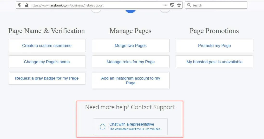 Facebook chat is a support option for business users