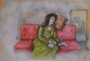 La siesta, pastel and ink, (29,7x42cm)