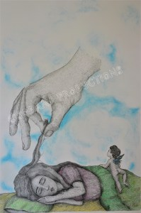 Hand of God, ink, graphite and pastel, (29,7x42cm)