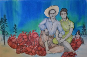Honeymoon, 42x59,4cm, ink, graphite and pastel