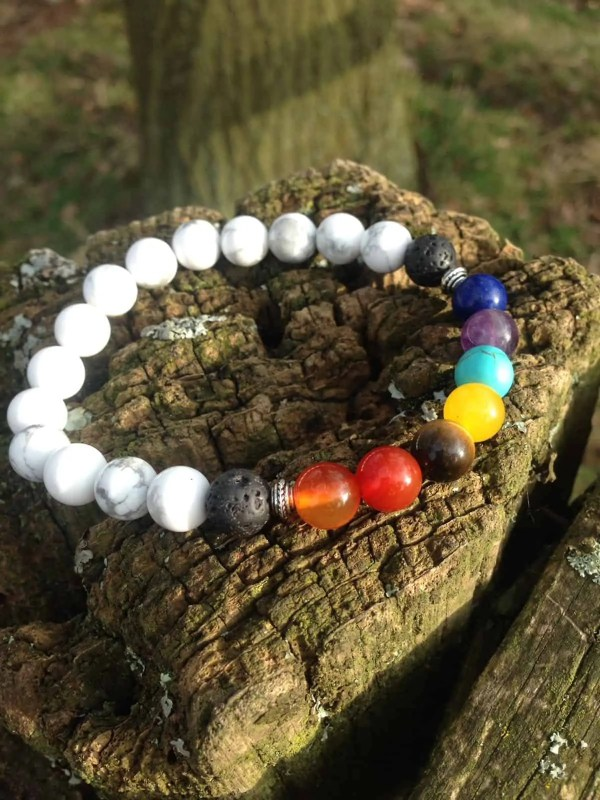 7 Chakras and Howlite Healing Bracelet