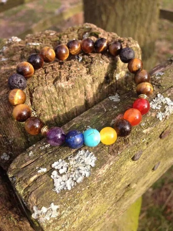 7 Chakra and Tigers Eye Healing Bracelet