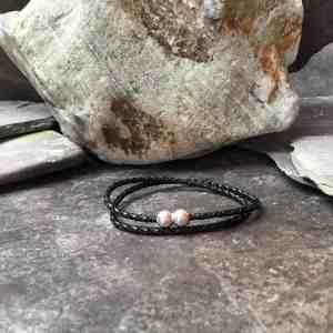 Slim Braided Leather Double Wrap Bracelet