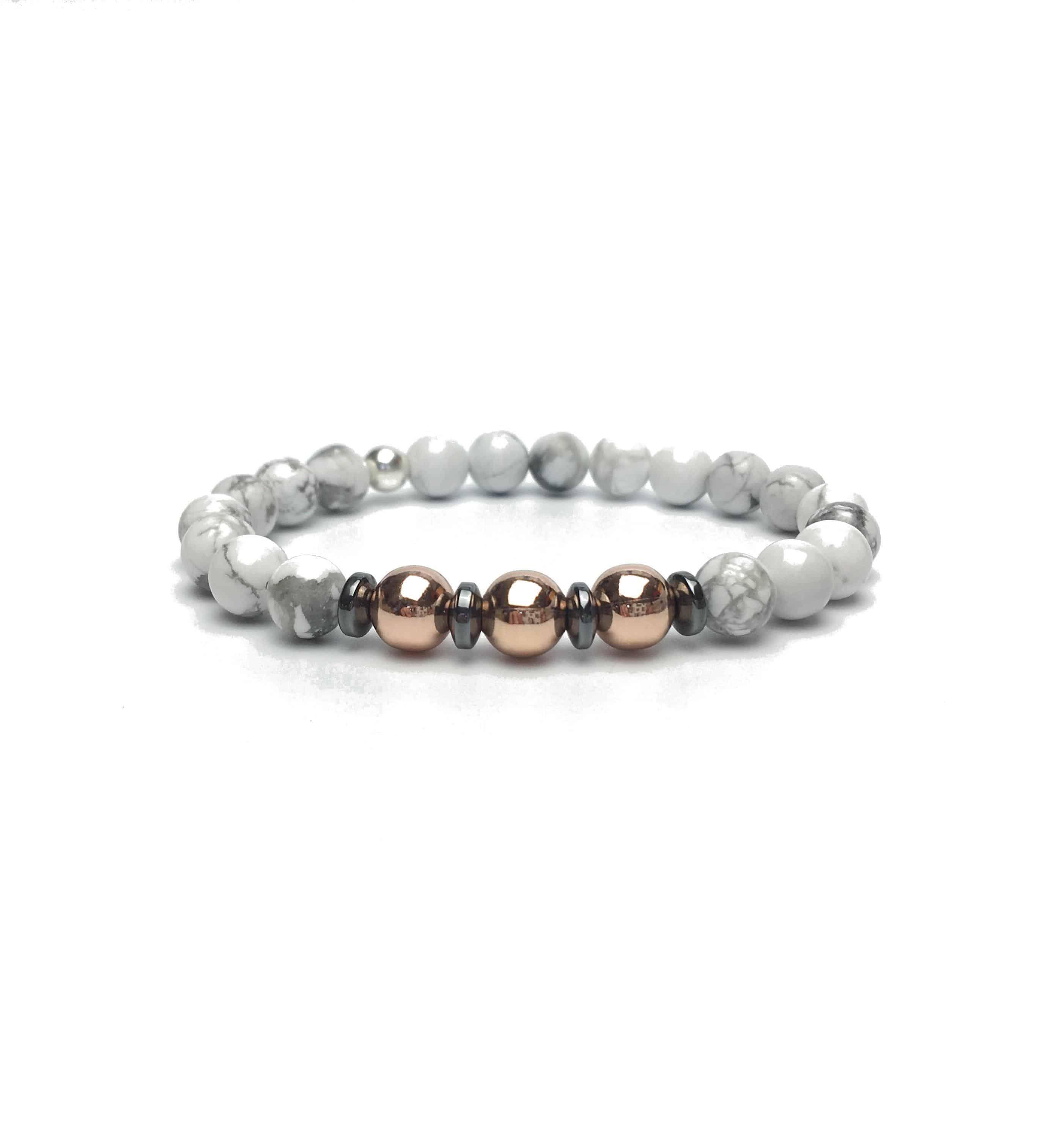 Grade A White Howlite and Rose Coloured Bracelet