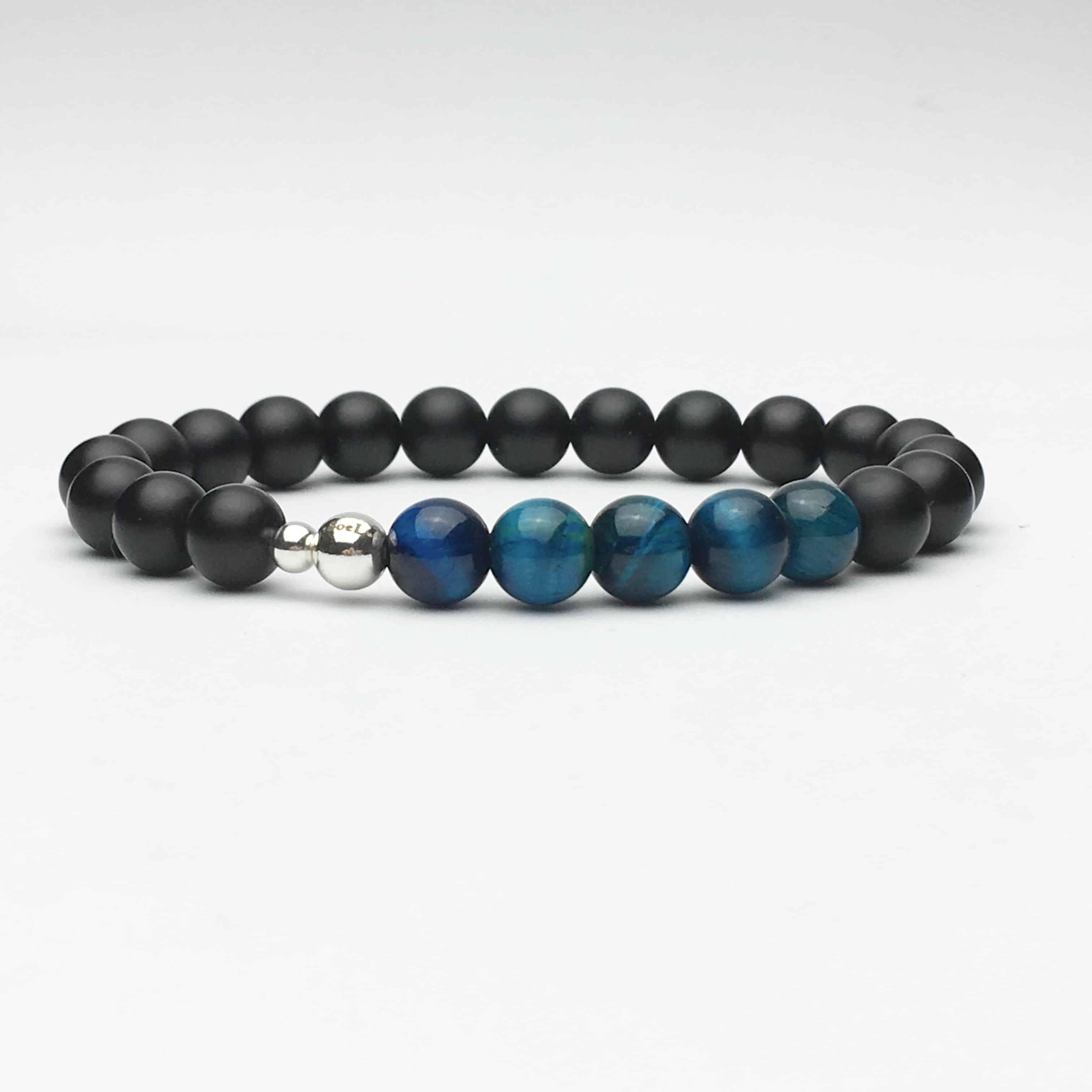 Blue Tigers Eye and Onyx Bead Stretch Bracelet