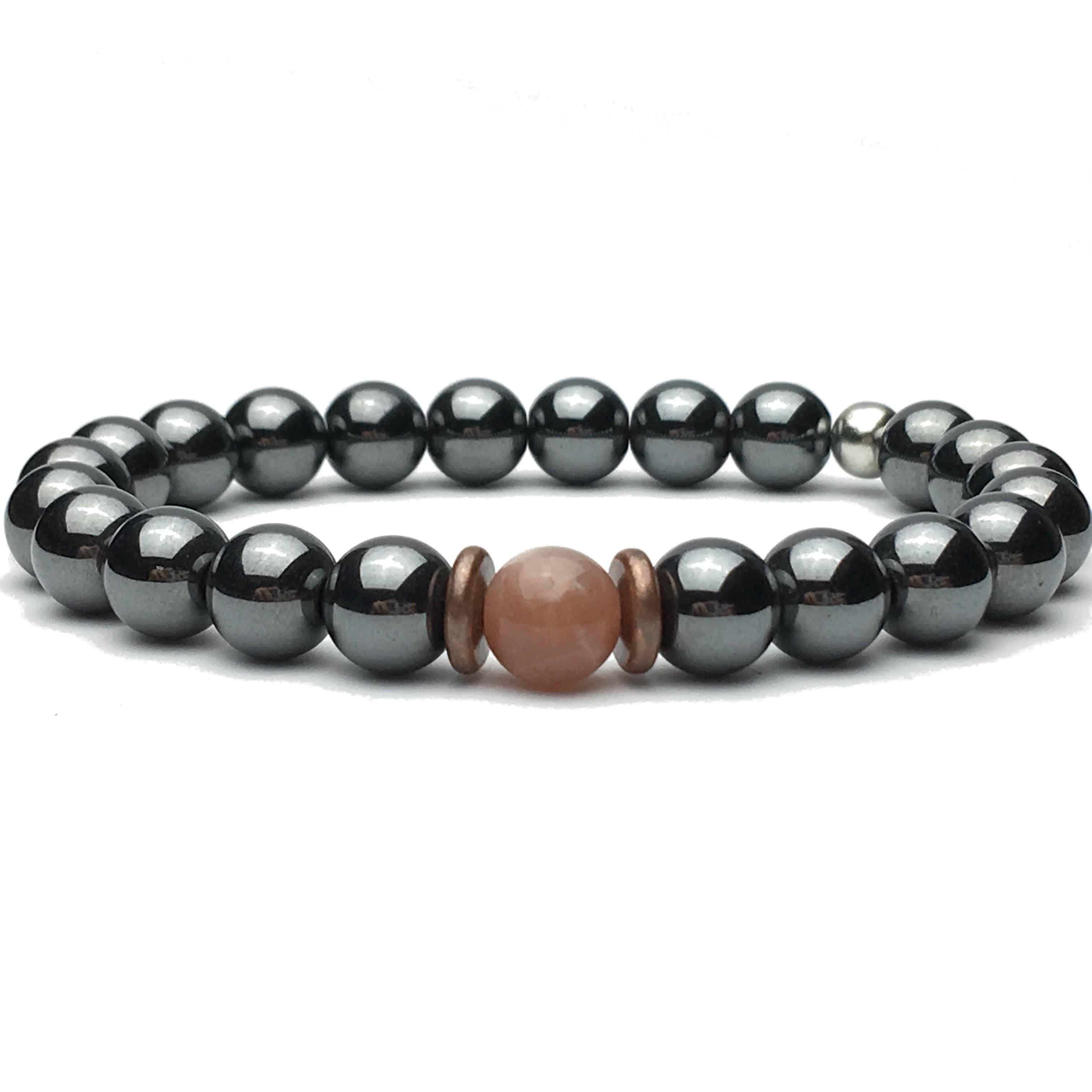 Hematite and Sunstone Bead Bracelet