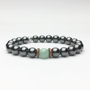 Amazonite and Hematite Beaded Bracelet