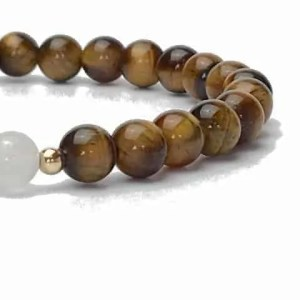 6mm Tigers Eye and Jade Bracelet with 9ct Gold.