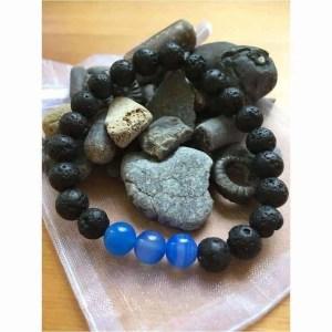 Lava Rock and Blue Jade Aromatherapy Essential Oils Diffuser Bead Bracelet.