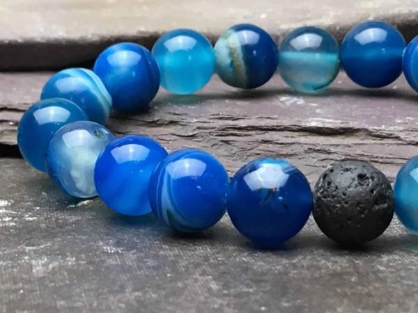 10mm BLUE ONYX AND LAVA STONE BRACELET