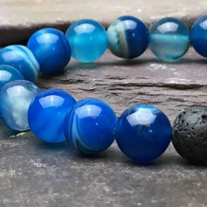 10mm BLUE ONYX AND LAVA STONE BRACELET