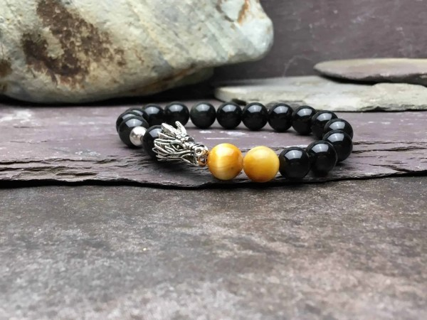 10mm Obsidian and Tigers Eye Dragon Bracelet