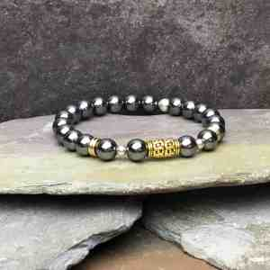 Tibetan Style Hematite and Sterling Silver Bead Bracelet