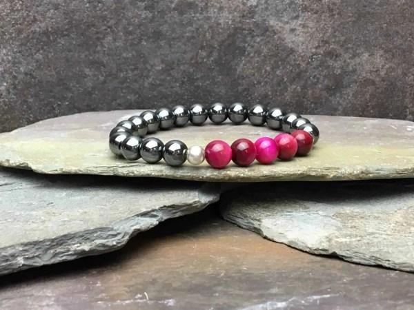 5 Pink Tigers Eye and Hematite Bead Bracelet