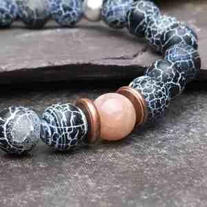 Wind Fossil Agate & Sunstone Bracelet