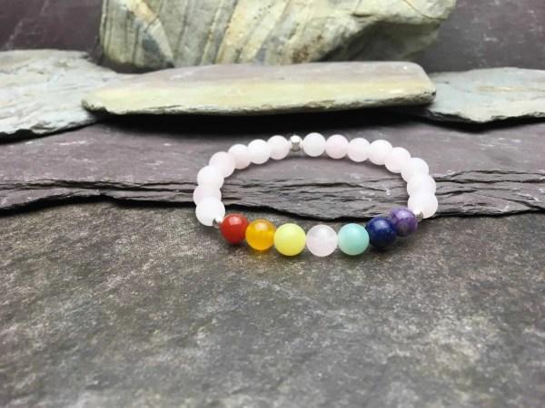 Rose Quartz 7 Chakra Healing Bracelet