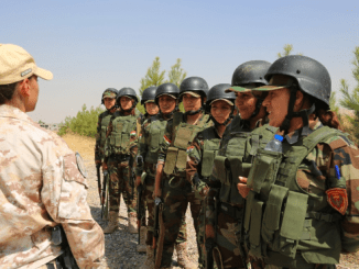 An Italian trainer conducts training for female Zeravani soldiers in Bnaslawa, Iraq. Photo by SGT Kalie Jones, CJTF-OIR, Aug 8, 2016.