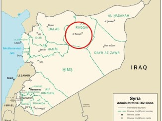 Map depicting location of Raqqa, Syria. (Based on CIA admin map 2007).