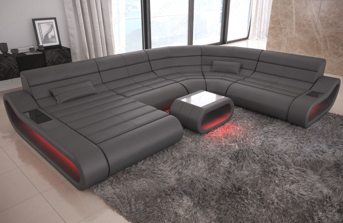 details about luxury sectional sofa concept xl design couch big led lights ottoman