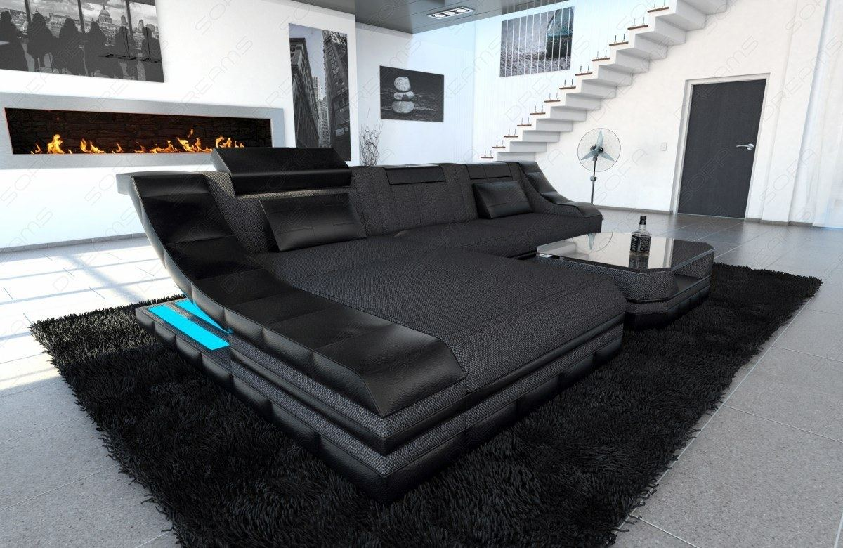 Sectional Fabric Sofa New York L Shape Couch With LED Lights EBay