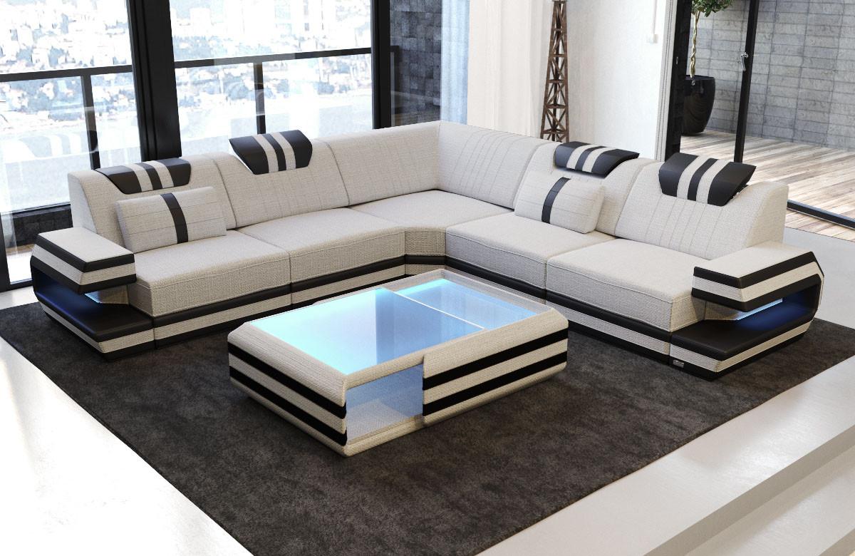 Moderne Sektions Stof Sofa San Antonio L Form Med Led Og Usb Easy Clean Stof Sofadreams