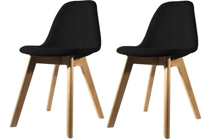 lot de 2 chaises scandinave en tissu noire norway
