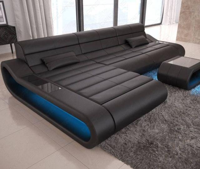Modular Sectional Sofa Concept L Short With Led Lights Black