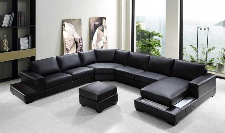 VG RZ Modern Black Sectional Sofa   Sectionals VG RZ Modern Black Sectional Sofa