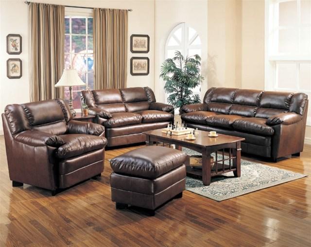 Harper Leather Living Room Set in Brown | Sofas