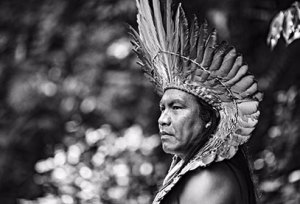 Black and white photo of spiritual leader and 'The Spirit of Tatá' co-producer Matsini Yawanawá