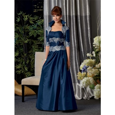A Line Long Navy Blue Taffeta Mother Of The Bride Dress