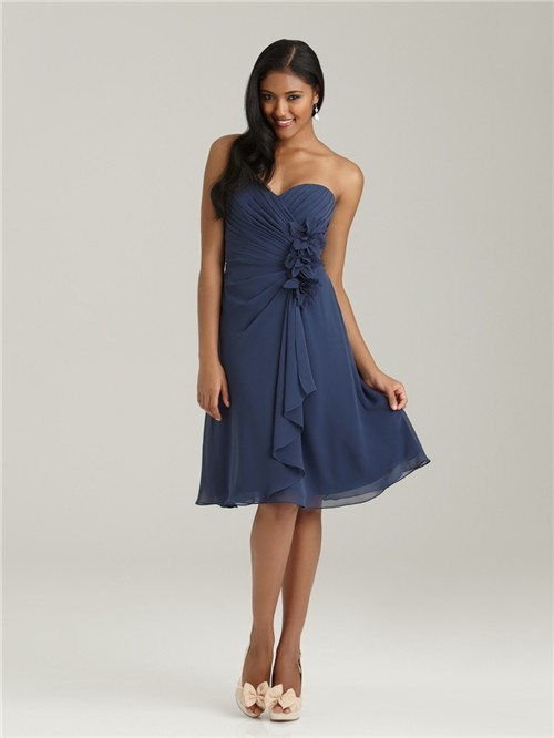 A Line Sweetheart Knee Length Short Navy Blue Chiffon