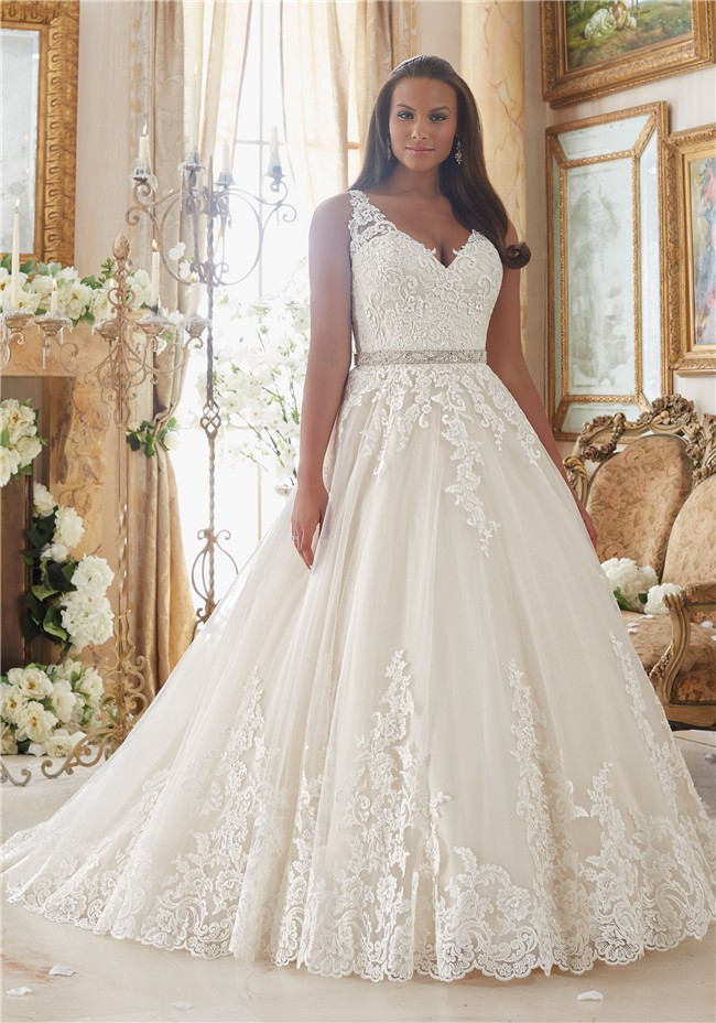 Ball Gown V Neck Sheer Back Tulle Lace Plus Size Wedding Dress Crystals Sash