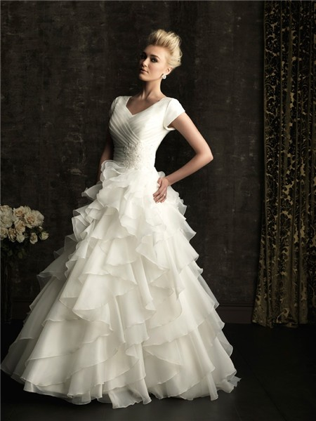 Ball Gown Square Court Train Short Sleeves Wedding Dress