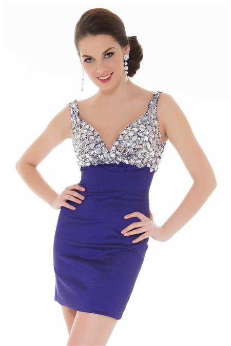 Elegant Tight Sweetheart Short Mini Purple Beaded Homecoming Prom Dress