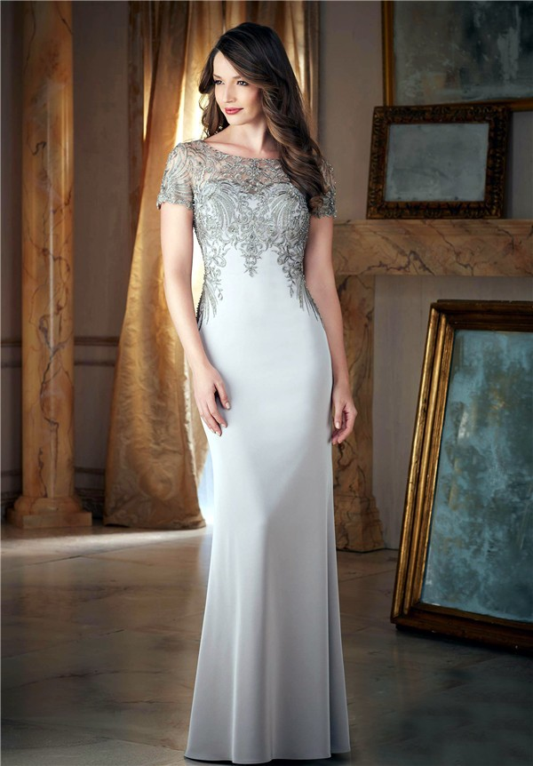 Fitted Bateau Neck Long Silver Satin Embroidery Beaded Evening Dress With Sleeves