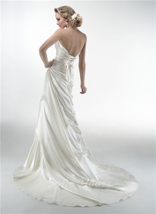 Mermaid Sweetheart Corset Back Draped Satin Wedding Dress