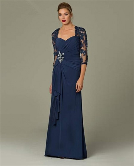 Sheath Sweetheart Long Navy Blue Chiffon Lace Sleeve