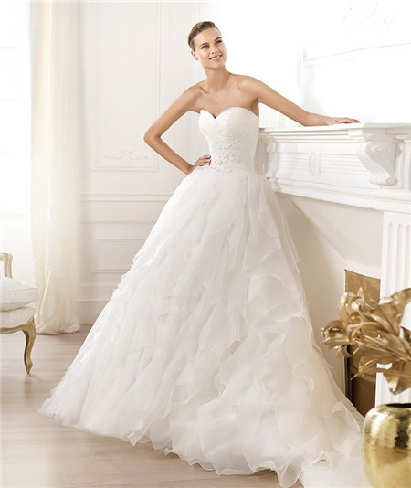 Simple A Line Princess Sweetheart Organza Ruffle Wedding